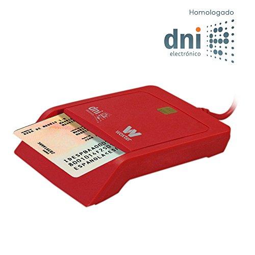 Woxter Lector DNI Electrónico Rojo - Lector de DNI Electrónico Inteligente, DNI 3.0, Plug & Play, Compatible con PC y Mac