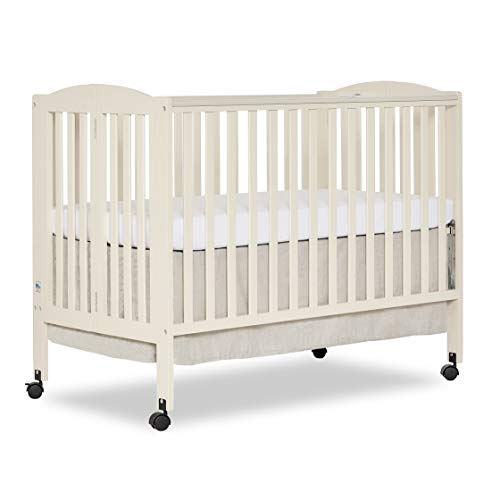 Dream On Me Full Size 2-in-1 Folding Stationary Side Crib, French White