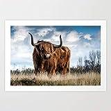 yaonuli Impresión de Ganado Salvaje de Las Tierras Altas en Lienzo Cuadros Lienzo Pintura Arte de Pared para Sala de Estar decoración Moderna del hogar Pintura sin Marco 40x60cm Highland Cattle Gift