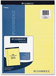Mead Cambridge Stiff-Back Pad, Wide Ruled, 8.5 x 11 Inch, Canary, 70 Sheets per pad (59870)