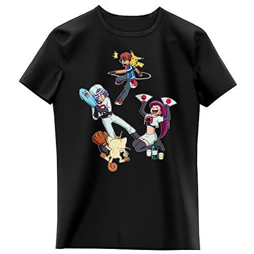 Okiwoki T-Shirt Enfant Fille Noir Parodie Pokémon - Pikachu, Sasha et la Team Rocket - Une Partie de Poké-Ball : (T-Shirt Enfant de qualité Premium de Taille 3-4 Ans - imprimé en France)