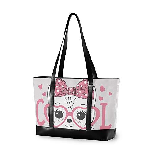 RELEESSS Tote Laptop Bags Cute Cat Handbag Shoulder Bag Laptop Case for Women Ladies Girls