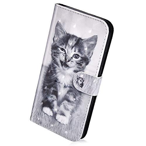 Herbests Kompatibel mit Huawei P Smart 2018 Hülle Klapphülle Leder Tasche Flip Schutzhülle Wallet Handyhülle 3D Bunt Muster Glänzend Bling Glitzer Brieftasche Handytasche Hülle,Niedlich Katze