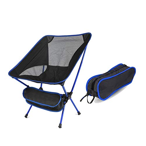 LIUYB Silla de Viaje Plegable al Aire Libre Ultraligero Aire Libre Silla de Camping Portable de la Silla del Asiento Herramientas Pesca Playa Senderismo Picnic (Color : Azul)