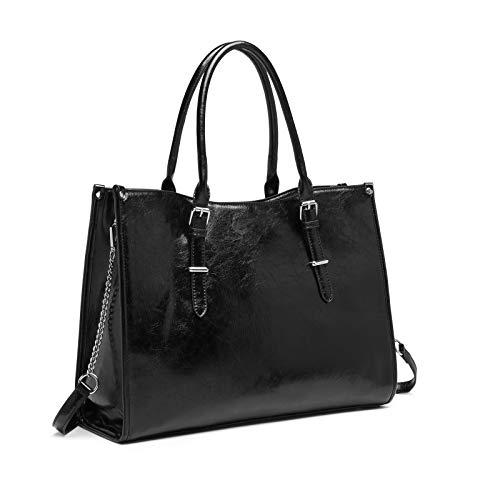 Laptop Bag for Women 15.6 Inch Waterproof Lightweight Leather Computer Tote Bag Business Office Briefcase Large Capacity Handbag Shoulder Bag Professional Office Work Bag (Black)