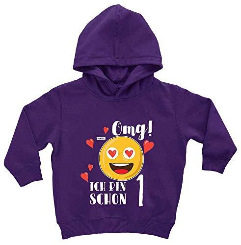Hariz - Tarjetas de regalo con capucha para bebé, diseño de emoticono Polvo de estrellas lila. 12-24 meses