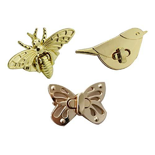 CAILI Twist Turn Lock Geldbörse Sperre,Niedliche Bienen/Vogel/Schmetterlings drehschnalle Drehverschluss Snap Tasche Zubehoer Schnalle Twist für Leder Handtasche Tasche Zubehör(3 Pcs)