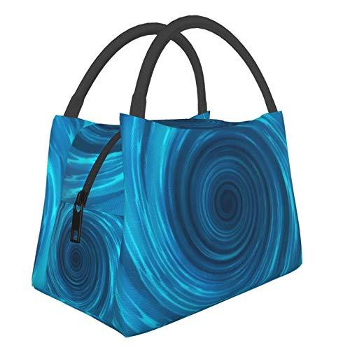 Bolsa de almuerzo portátil con aislamiento Cool (Blue Abstract Vortex Burstingradialradiating Pattern) 8.5L