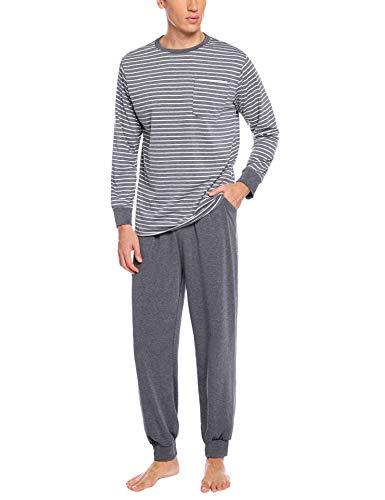 Hawiton Herren Schlafanzug Pyjama Zweiteiliger Baumwolle Gestreift Lang Nachtwäsche Langarm Rundhals (Hellgrau-B, Small)