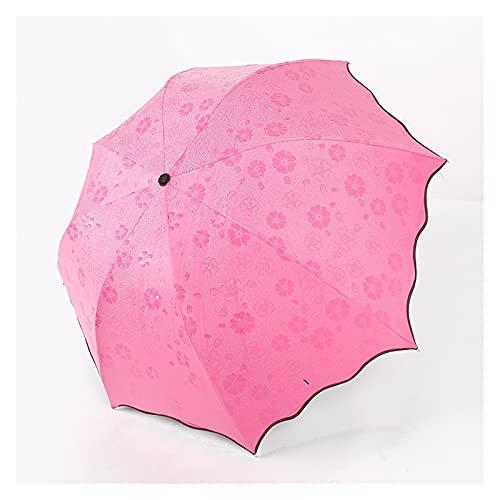 GYY Mujeres Plegables Arco Iris Lluvia Paraguas A Prueba De Viento Viajes Al Aire Libre Paraguas De Negocios para Niños Niños Muchachos Regalo Regalo Sol Soleado Sombrilla (Color : Pink)