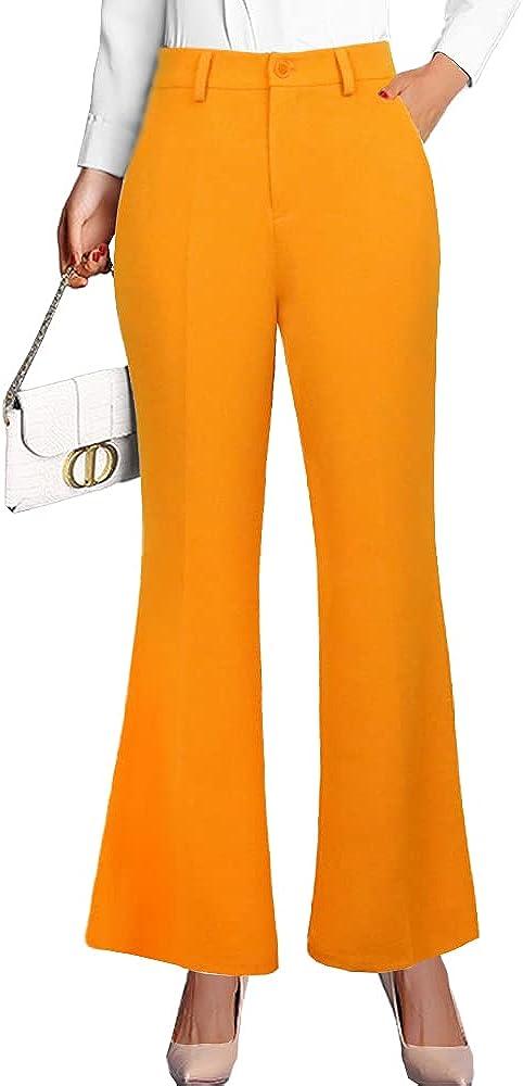 nuoshang Women's High Waist Wide Leg Pants Elegant Casual Work Flared Trousers
