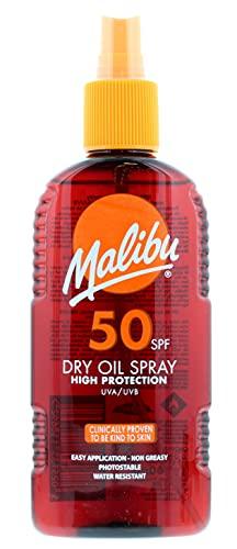 Malibu High Protection Wasserabweisendes nicht fettendes Trockenöl Sonnenspray LSF 50, 200 ml
