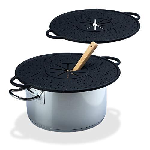 Relaxdays 2X Überkochschutz Silikon, Spritzschutz & Untersetzer für Töpfe, hitzebeständig bis 250°C, pflegeleicht, 30cm Ø, schwarz