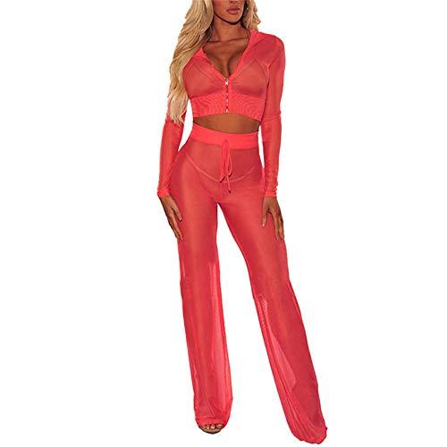 Damen Sexy Dessous Set durchsichtigen Pyjama tiefen V-Ausschnitt Reißverschluss Langarm Sport Tops Versuchung Hose sexy Pole Dance Kostüm sexy heißes Mädchen Disco-Party Dancewear B-Red XL