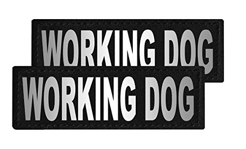 Dogline Working Dog Vest Patches – Removable Working Dog Patch 2-Pack with Reflective Printed Letters for Support Dog Vest Harness Collar or Leash Size C (2