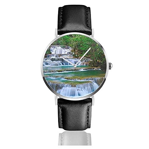 快適なPuレザーストラップ付きメンズレディースノベルティウォッチ、ファッションクォーツビジネスクラシックギフト腕時計-タイの滝