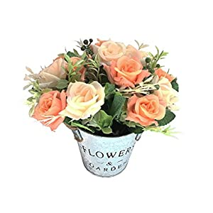 Charmly Artificial Flowers Potted European Style Design Silk Rose Arrangements Bonsai House Office Restaurant Table Centerpieces Windowsill Decor Rose1-champagne