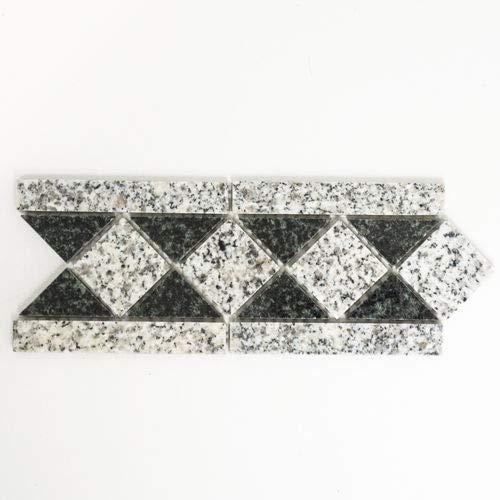 Mozaïek rand rand padang natuursteen grijs zwart 8x20 cm artikel 860/BT