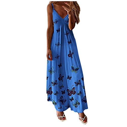 BALABA❥Women Plus Size V-Neck Tie Dye Ombre Dress Boho Spaghetti Strap Floral Tank Top Maxi Long Dress Beach Sundress