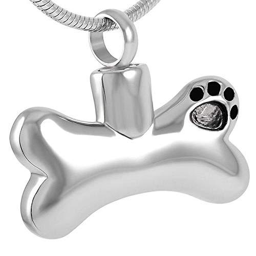 KBFDWEC Pata chapada en Oro en Forma de Hueso Perro Mascota joyería Conmemorativa urna Colgante Collar para Ceniza...