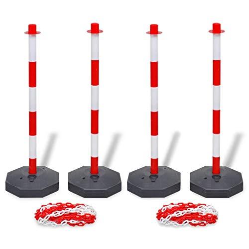 vidaXL 4x Postes de Barrera con Cadena de Plástico Tráfico Señal Seguridad...
