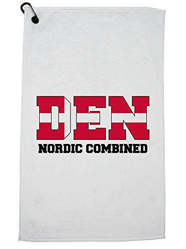 Hollywood-draad Deense Scandinavische gecombineerd - Olympische Winterspelen - DEN Vlag Golf Handdoek met Karabijnhaak Clip