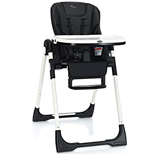 INFANS High Chair for Babies & Toddlers, Foldable Highchair with Multiple Adjustable Backrest, Footrest and Seat Height, Removable Tray, Detachable PU...