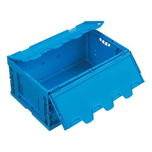WALTHER Faltbox aus Polypropylen - Inhalt 54 l - mit anscharniertem Deckel, blau - Behälter aus Kunststoff Faltbox Faltboxen Klappbehälter Klappbox Klappboxen Kunststoff-Behälter Lagerkasten Lagerkästen Stapelbehälters Kunststoff Stapelkasten aus