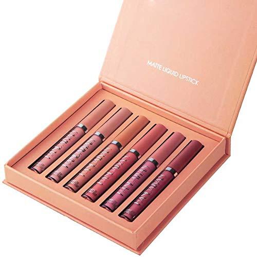 Allouli 6pcs Matte Lip Gloss Set 6 Colors Liquid Lipstick Makeup Kit Waterproof Long Lasting