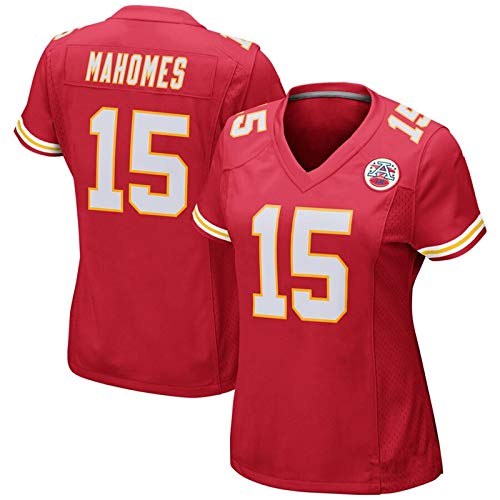 Women's Short-Sleeved T-Shirt, American Football Shirt, Chiefs Jersey, Number #15,Red,M