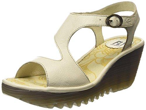 Fly London Yanca Blanco Opaco Mujeres Cuero De Cuña Sandalias Zapatos