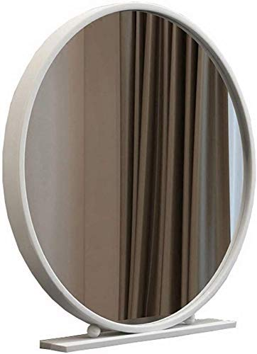 JKCKHA Nordic Hierro Forjado de una Sola Cara Espejo Redondo de Escritorio Dormitorio Escritorio de Vestir Princesa de Belleza Espejo (Color: Blanco, tamaño: 30 cm)