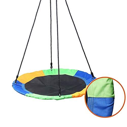 Balançoires YXX d'arbre à Soucoupe 150 kg pour Adultes, diamètre 100 cm, Corde en Nylon réglable, Couverture en Tissu Oxford 900D