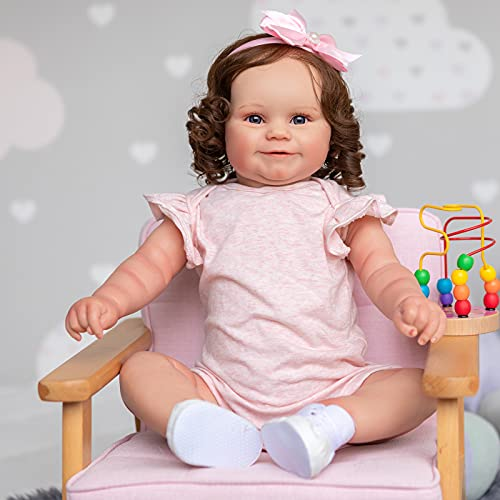 Realistic Reborn Girl Toddler Dolls 24 inches 60cm Silicone Baby Doll with Brown Hair for Birthday Xmas Toy Gift