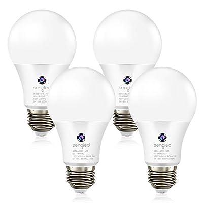 Sengled Light Bulb Sensor Dusk to Dawn LED Outdoor Lighting Soft White A19 Photocell Light Sensor Bulb E26 Lamp Auto On/Off Night Light Bulbs, Yard Porch Patio Garage Garden | 4 Pack