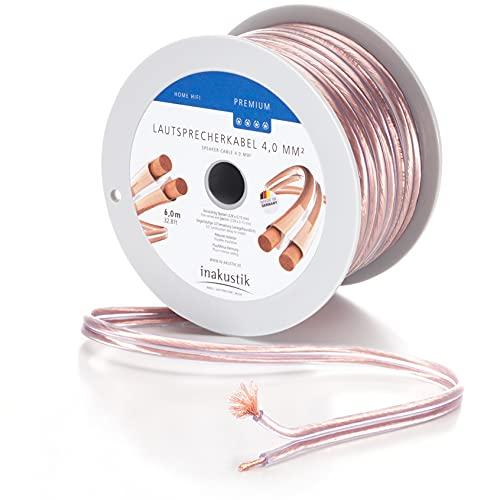 inakustik 00402406 – Cable de altavoz Premium | 2 x 4,0 mm² | 6 m transparente | revestimiento S/Z fácil de instalar – codificado por colores | uso universal | fabricado en Alemania