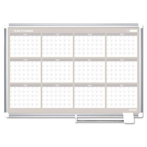 "MasterVision Planning Board Magnetic Dry Erase 12 Month Calendar Board with Aluminum Frame, 36"" x 48"""