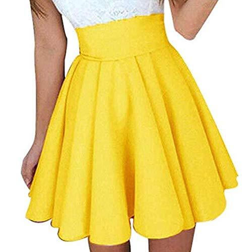 Bradoner Faldas De Las Mujeres Básico De Cintura Alta Casual Mini Falda Vestido Elástico Color Sólido Versátil Acampanado Amarillo (Color : Yellow, Size : M)