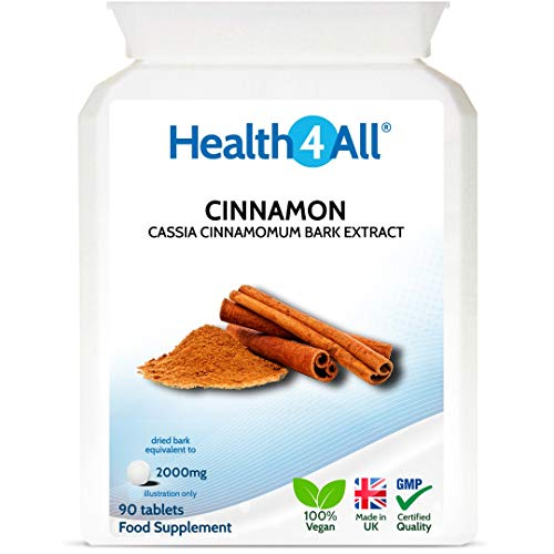 Cinnamon 2000mg 90 Tablets (V) for Blood Sugar Control Made by Health4All