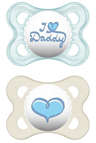 MAM Original Silikon Schnuller im 2er-Set, besonders sanfter Schnuller, Baby Schnuller aus speziellem MAM SkinSoft Silikon mit Schnullerbox, 0 - 6 Monate, blau