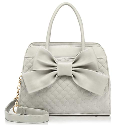 Scarleton Quilted Bow Satchel Handbag for Women, Vegan Leather Crossbody Bag, Shoulder Bag, Tote Purse, H104803 Grey