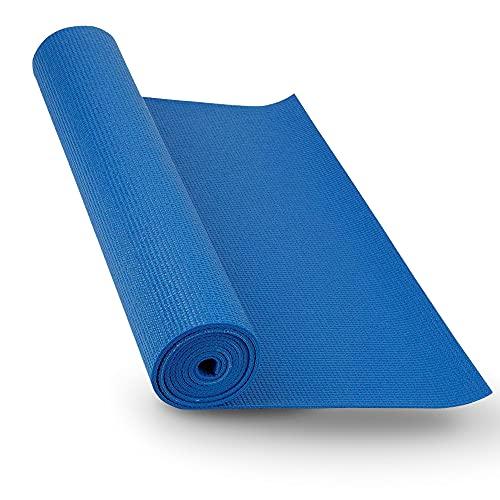 Esterillas fitness Yoga y Pilates antideslizante y ligera para gimnasio en casa (azul PVC)