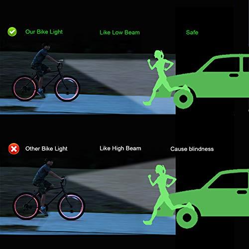 Antimi Fahrradlicht Led Set, LED Fahrradbeleuchtung mit 2 Licht-Modi, StVZO-Zulassung, Frontlicht und Rücklicht/Rotlicht, IPX5 Regen- und stoßfest Fahrrad Licht 2600mAh - 3