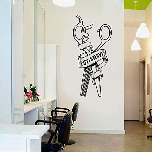 zzlfn3lv Cortar y Afeitado señal Cortes de Pelo para Hombres barbería Etiqueta de la Pared de Pared Arte, Etiqueta de Vinilo de peluquería para ventana42*88cm