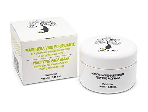 POC A POC - Masque Visage avec un mélange d'argile blanche et verte, amidon de riz, défense GSH, purifiant, anti-âge, exfoliante, nourrissant, laisse la peau merveilleuse. Format 100ml