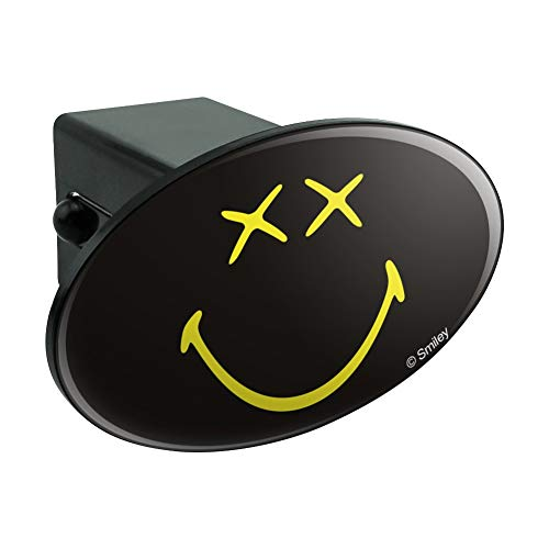 Graphics and More Smiley Smile Dead Happy Black Yellow Face Oval Tow Hitch Cover Trailer Plug Insert 2'