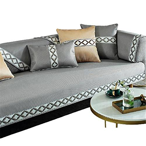 Fundas de sofá deSeda de Hielo de Verano de 5 Colores,Almohadillas de sofá seccionales Acolchadas,Protector de Muebles,Gris,Funda de Almohada de 45x45 cm