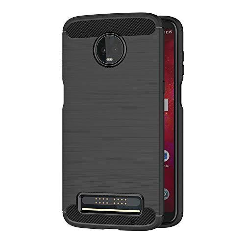 AICEK Compatible Moto Z3 Play Hülle, Schwarz Silikon Handyhülle für Motorola Moto Z3 Play Schutzhülle Karbon Optik Soft Hülle (6,01 Zoll)