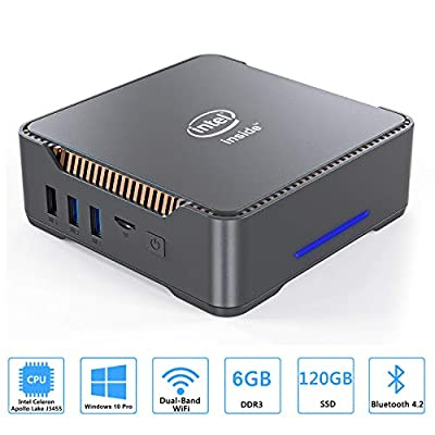 Mini PC, Intel Celeron J3455 Processor(up to 2.3GHz) Windows 10 Pro(64-bit) Mini Desktop Computer with HDMI/VGA Port,6GB DDR3/120GB SSD,Gigabit Ethernet,Dual Band Wi-Fi,Bluetooth 4.2,4K HD