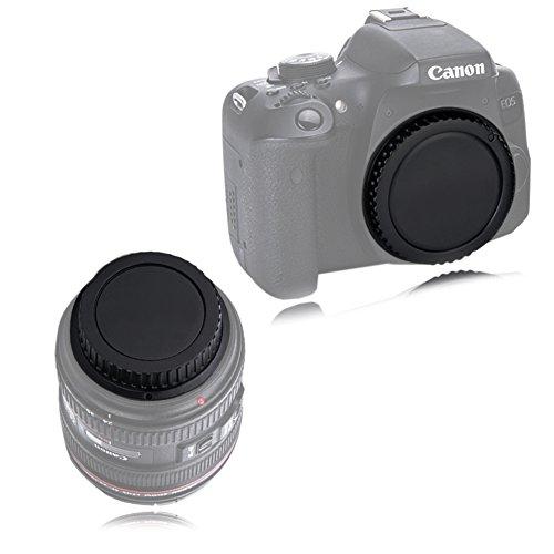 VKO カメラボディキャップとリアレンズキャップ キヤノンCanon用 EOS Kiss F/X50/9000D/8000D/X9i/X9/X8i/X7i/X7/X6/X6i/X5/X80/X70/N80D/77D/70D/60D/6D/7D Mark II/5D Mark III/5D Mark IVなど用(2セット)